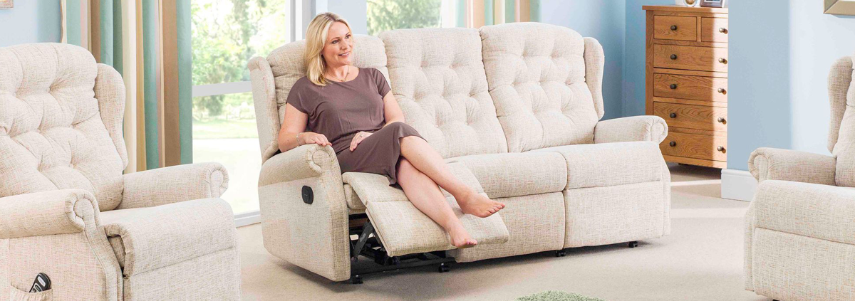 Fabric 3 Seater Manual Recliner Sofas